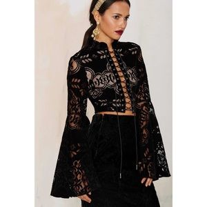 Nasty Gal boho bell sleeve lace up crop top